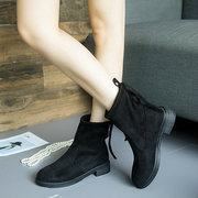 Simple Pure Color Lace Up Suede Casual Boots