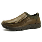 Men Large Size Hand Stitching Slip On Casual Shoes