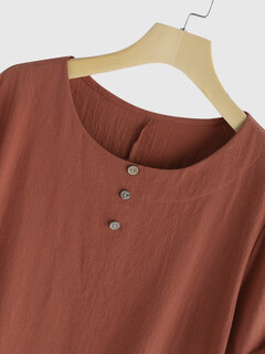 Solid Color Short Sleeve Button Casual Plus Size T-shirt