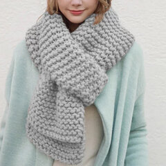 Women Winter Solid Colors Rough Knitted Scarves Outdoor Thick Warm Soft Scarf Shawl