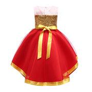 Платья для девочек-цветочниц Рождество без рукавов платье принцессы для 2Y-9Y