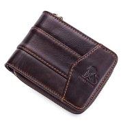 RFID portefeuille vintage trifold antimagnétique en cuir véritable à 13 fentes pour cartes sac de monnaies pour homme