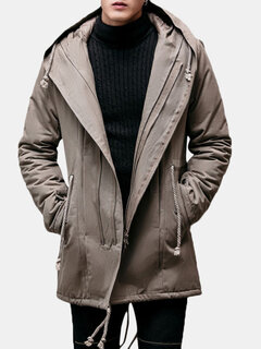 Men's Casual Winter Drawstring Pockets Zipper Design Solid Color Warm Down Coat