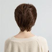 Women Brown Fluffy Short Human Hair Wig 10 Inch Artificial Hair Wig