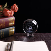 Crystal Ball 3D Laser Engraved Glass Globe Crystal Craft Home Decor Accessories Ornament