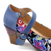 SOCOFY Big Head Genuine Sheep Leather Bloom Flower Pattern Buckle Strap Soft Casual Pumps