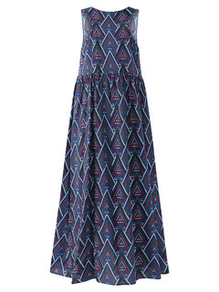 O-NEWE Vintage Geometric Patterns Printed Sleeveless Maxi Dress