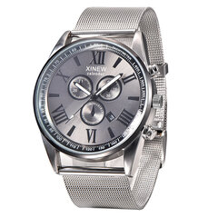 Business Quartz Wristwatch Calendar Round Dial Roman Numerals Stainless Steel Strap Watches for Men