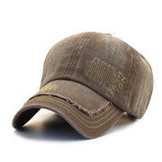 Men's 100% Cotton Letter Embroidery Retro style Wide Brim Breathable Casual Washed Baseball Cap