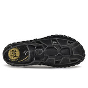 Men Hand Stitching Non Slip Soft Sole Lace Up Casual Leather Sandals