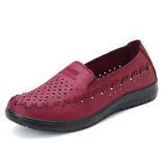 Hollow Out Breathable Pure Color Casual Flat Loafers