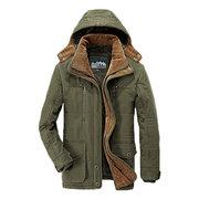 Chaqueta forrada de color puro con capucha desmontable y multi-bolsillos en invierno para hombres