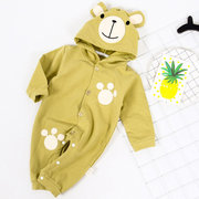 Cute Animal Bear Hooded Infant Baby Boys Girls Jumpsuit For 0-24M