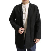 Mens Chinese Style Solid Color Long Sleeve Mid Long Cotton Cardigans Vintage Casual Jacket