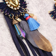 Ink Bohemian Tassel Earrings Luxo Gold Plated Velvet Tassel Elegant Feather Ear Drop Boho Gift