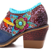 SOCOFY Vintage Genuine Leather Clover Pattern Splicing Colorful Floral Lace Zipper Comfortable Pumps