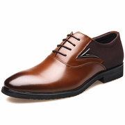 Men Stylish Microfiber Leather Splicing Lace Up Formal Dress Shoes