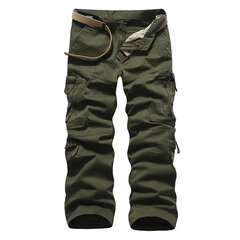 Mens Cotton Zipper Multi-pocket Cargo Pants Straight Leg Solid Color Casual Trousers