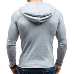 Mens Hooded Solid Color Casual Sport Cotton Long Sleeve T-Shirts