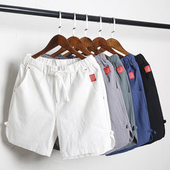 Casual Drawstring Solid Color Comfy Cotton Linen Board Shorts for Men