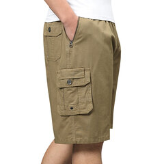 Mens Multi-pocket Cargo Shorts Elastic Waist Solid Color Loose Fit Casual Cotton Work Shorts