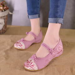Old Beijing Comfortable Casual Shoes Embroidered Splicing Flat Loafers For Women