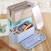 Wheat Straw Lunch Box with Spoons 19.8x9x8 cm