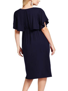 Front Open Maternity Solid Color Round Neck Nursing Dress
