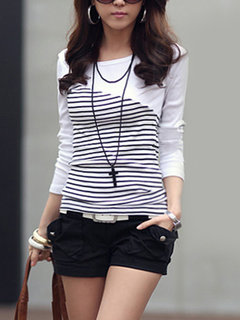 Striped Patchwork O-neck Long Sleeve Bottoming Shirt