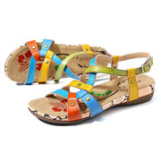 SOCOFY Color Stripes Genuine Leather Splicing Comfortable Buckle Strap Sandals