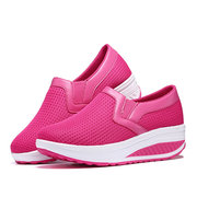 Manga Respirável Pure Color Rocker Sole Shake Casual Shoes