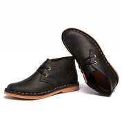Men Hand Stitching Oil Leather Classic Lace Up Chukka Boots