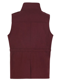 Casual Pure Color Drawstring Sleeveless Women Vest Jackets