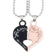 Sweet Couple Pendant Necklace Cartoon Character Puzzle Heart Geometric Charm Necklace for Women Men