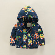 Cartoon Pattern Girls Boys Kids Hooded Coats Windbreaker Jackets For 2Y-9Y