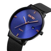 Einfache Art und Weise Mann-Uhr-ultra dünnes Edelstahl-Maschen-Band-Mann-Quarz-Uhr