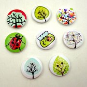 100Pcs 20mm Flowers Printing Button Two Holes Round Wooden Button DIY