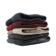 Мужская зимняя шерстяная бархатная вязка Шапка Шарф Vogue Keep Уши Шея Набор круглых шапочек с шарфом для горных лыж