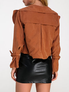 Sexy Solid Color Turn-Down Collar Women Short Jackets