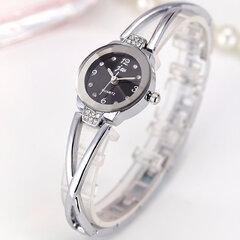 أزياء الكوارتز ساعة اليد الذهب والفضة الصلب حزام جولة يتصل ساعات مجوهرات حلوة للنساء