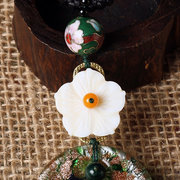 Vintage Colored Glass Necklace Long-Style Flower Necklace For Women