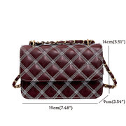 Women Fuax Leather Argyle Chain Shoulder Bag Square Bag