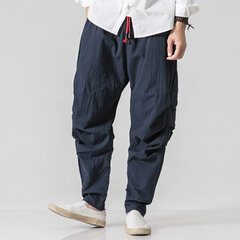 Mens 100% Cotton National Style Loose Casual Pure Color Elastic Waist Harem Pants