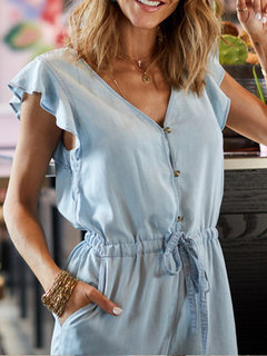 Button V Neck Wide Legs Frill Sleeve Casual Jumpsuit