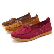 Women Casual Breathable Mesh Cloth Shoes Butterfly Knot Hollow out Flats
