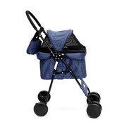 Luxury Foldable Blue Awning Pet Stroller Dog Cat Cart Travel Folding Carrier