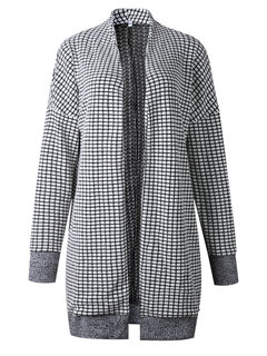 Plaid Long Sleeve Cardigan Woolen Coat for Women