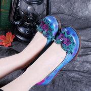 SOCOFY chaussures décontractées faites à la main en cuir à motif imprimé à forêt fantastique à talon bas
