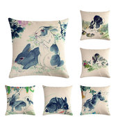 Chinese Watercolor Rabbit Printing Linen Cotton Throw Pillow Cover Home Sofa Office Seat Pillowcases