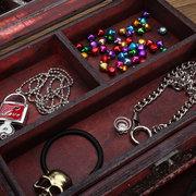 Винтаж Виноградный узор Деревянный с зеркальной шкатулкой для ювелирных изделий
